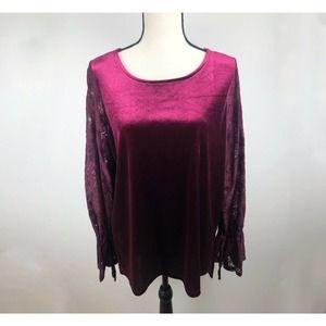Kensie Velvet Lace Maroon Long Bell Sleeve Blouse